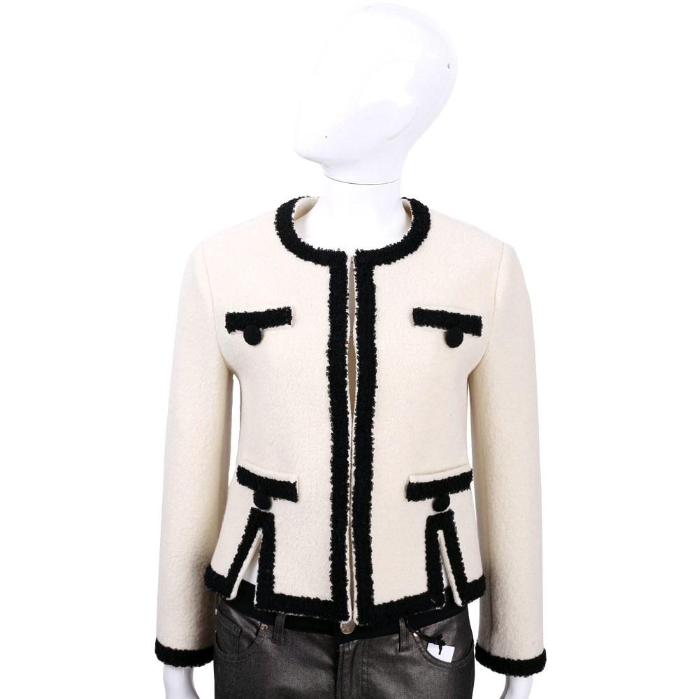 BOUTIQUE MOSCHINO 米白色蕾絲滾邊羊毛外套 (100%LANA)