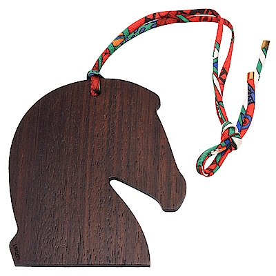 HERMES 木質馬頭造型絲綢綁帶吊飾