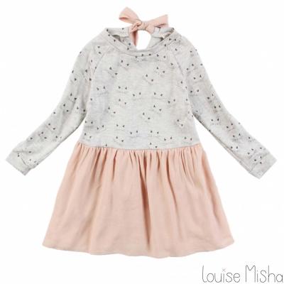 Louise Misha 灰色貓咪柔粉綁帶小洋裝