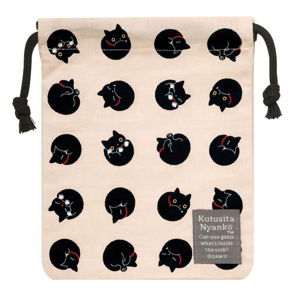 小襪貓貓咪黑圓點系列棉布束口袋。米