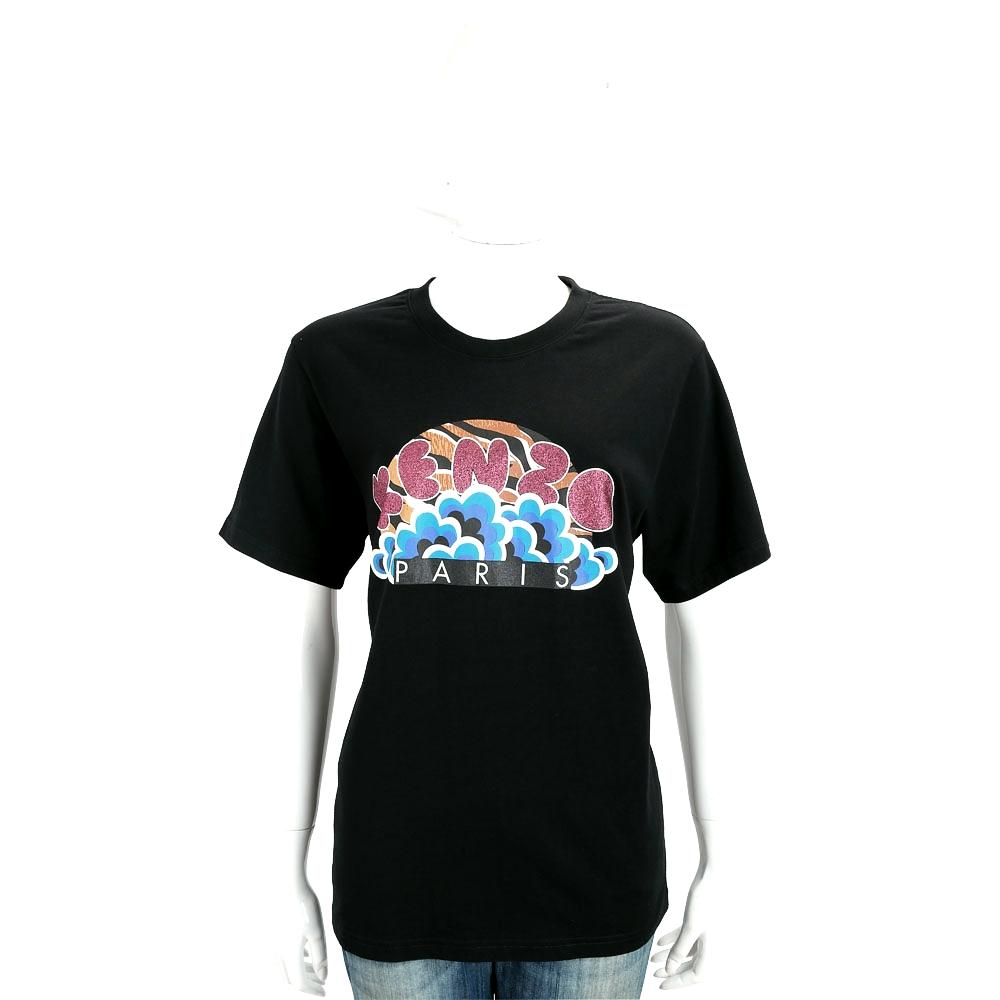 KENZO Glittered Logo 黑色雲朵印花棉質短袖T恤