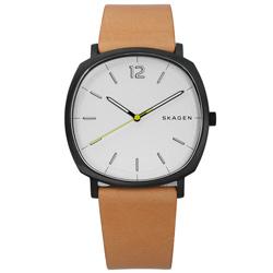 SKAGEN Rungsted 摩登時代真皮手錶-銀x黑框x卡其/40mm