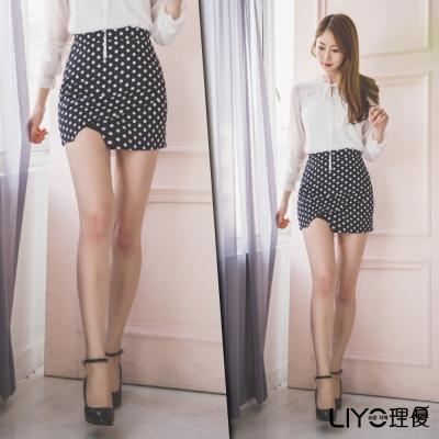 LIYO理優高腰復古圓點短裙(黑)