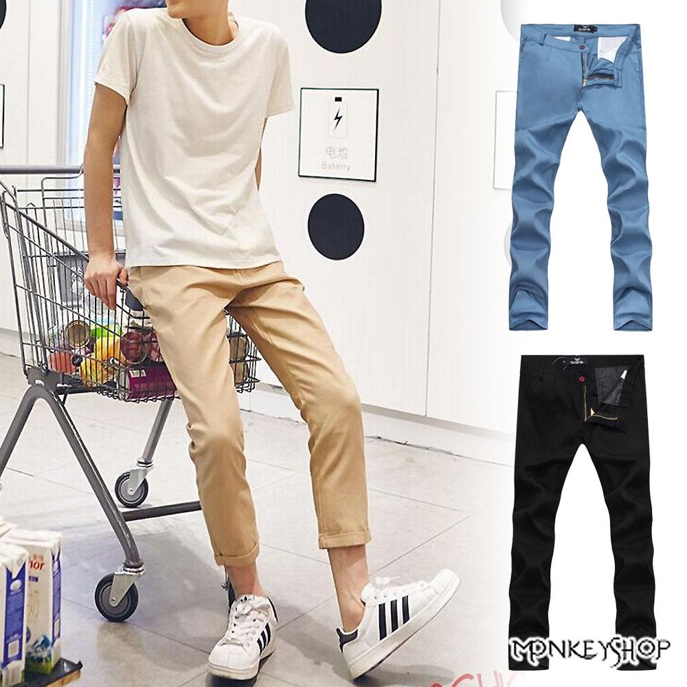 小猴子的賣場 簡約時尚韓版素面卡其七分褲-3色