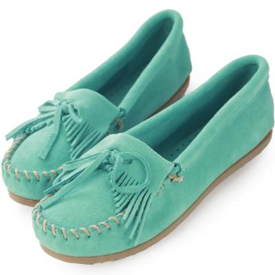 MINNETONKA 湖水綠麂皮素面平底莫卡辛 女鞋