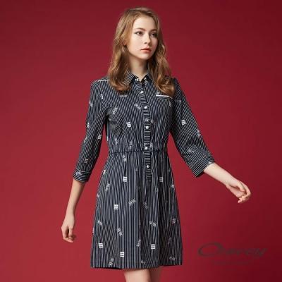 OUWEY歐薇 都會率性條紋印花洋裝(藍)