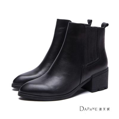達芙妮DAPHNE-短靴-素面真皮側車紋雀兒喜靴-黑8H