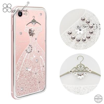 apbs iPhone8/7 4.7吋施華彩鑽鋁合金屬框手機殼-玫瑰金禮服奢華版