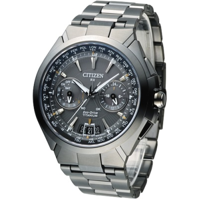CITIZEN 王者旗艦衛星對時鈦金屬腕錶(CC1085-50E)-IP灰