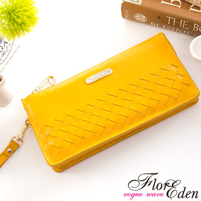 DF Flor Eden皮夾 - 巴黎簡約系列羊皮編織款單拉鍊手拿式長夾-陽光黃