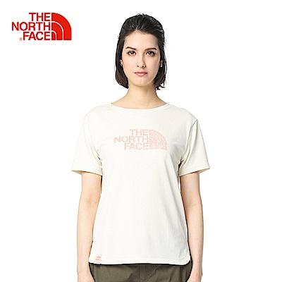 The North Face北面女款白色舒適合身戶外短袖T恤