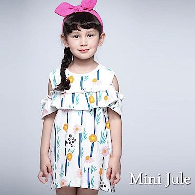 Mini Jule 童裝-洋裝 彩花露肩直紋短袖洋裝(米白)