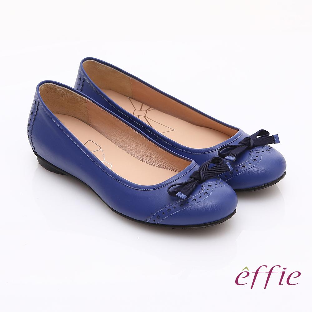 effie 俏麗悠活 全真皮織帶蝴蝶結飾平底鞋 藍