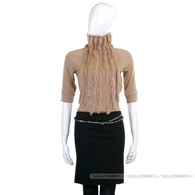 PAOLA FRANI 駝色毛草拼接高領洋裝(附腰帶)