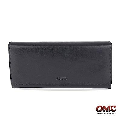 OMC 原皮系列-植鞣牛皮壓扣16卡透明窗雙隔層零錢長夾-藍色