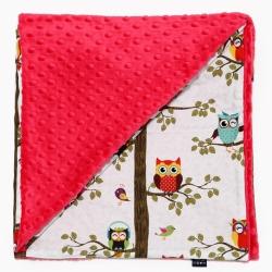 La Millou單面巧柔豆豆毯-AnnaMucha設計師限量款(樹屋貓頭鷹)-粉紅棉花糖