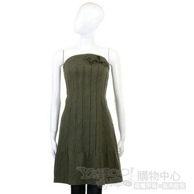 PHILOSOPHY 綠色花朵綴飾平口毛質洋裝