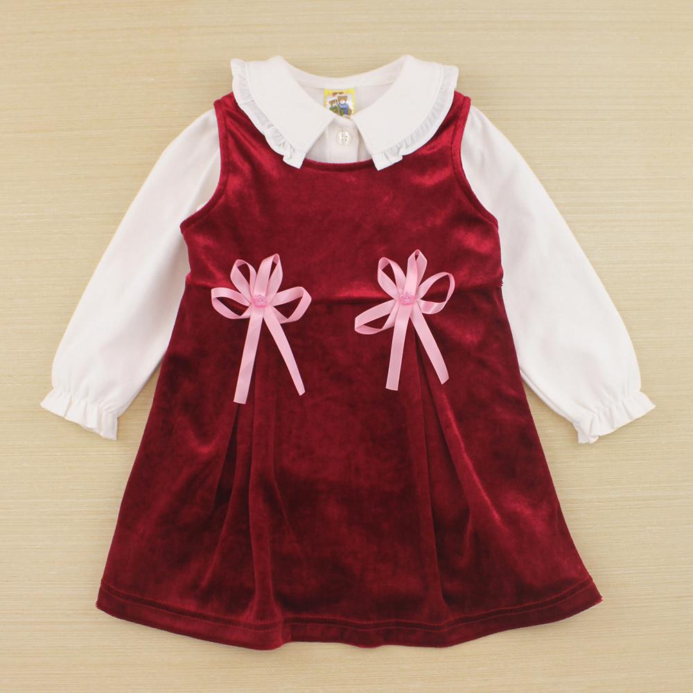 愛的世界 MYBABY 甜美絨布背心洋裝套裝/1~4歲
