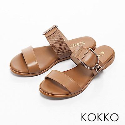 KOKKO-夏日邂逅異材質金屬扣平底拖鞋-可可棕