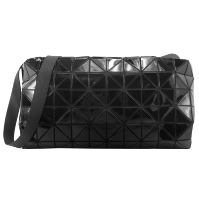ISSEY MIYAKE 三宅一生 BAOBAO 幾何方格6X10亮面立體斜背包(黑)