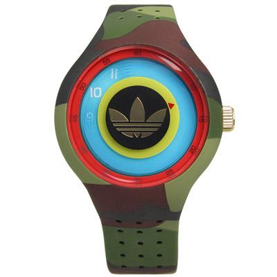 adidas 愛迪達 Originals多層次雙層時標矽膠腕錶-黑金x迷彩/41mm