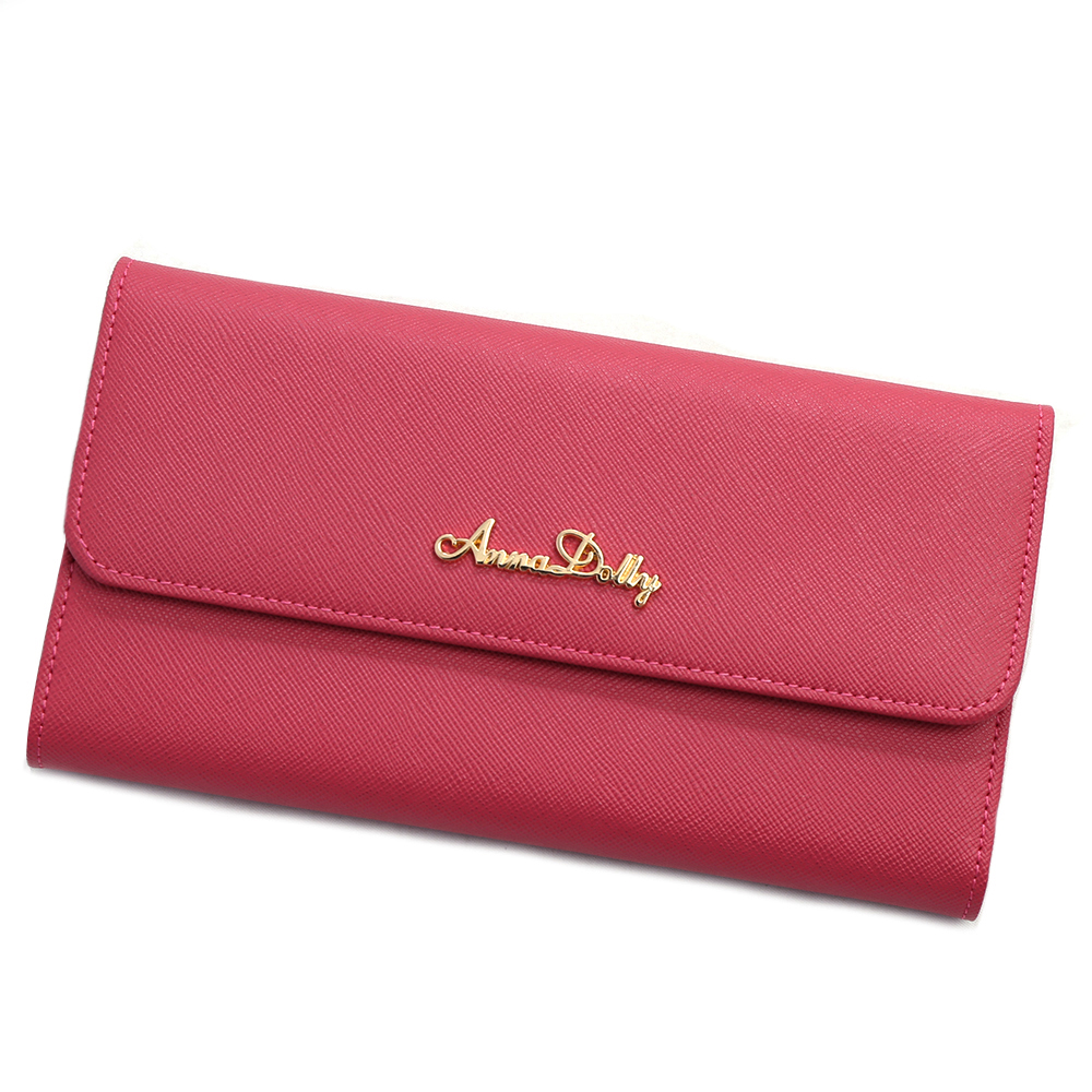 ANNA DOLLY 防刮牛皮三折長夾 Leather系列 甜桃紅