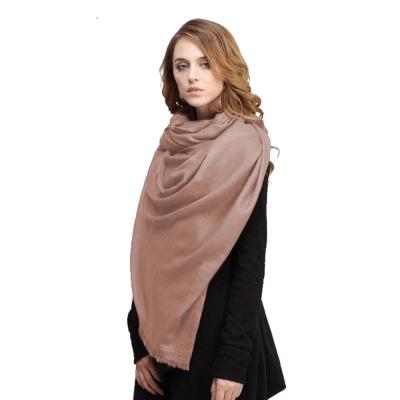 精織300支紗100%純色羊絨大披肩(淺駝色一件)