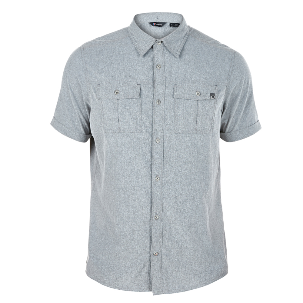 【Berghaus 貝豪斯】男款銀離子透氣抗UV短袖襯衫S06M05-灰