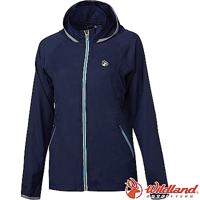 Wildland 荒野 0A61901-72深藍色 女彈性抗UV輕薄外套