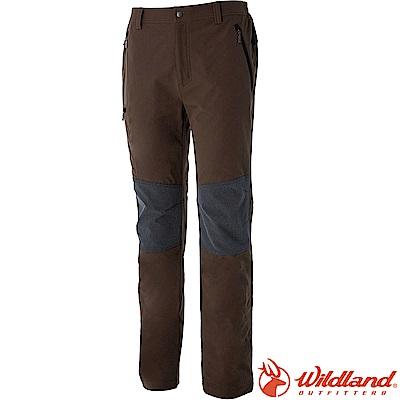 Wildland 荒野 0A52362-63深卡其 男RE彈性粗曠拼接保暖長褲