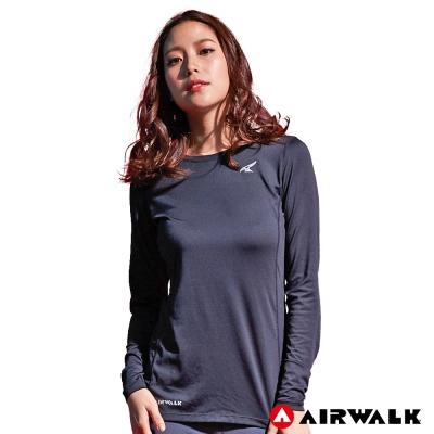 【AIRWALK】女款吸濕排汗長T-黑色