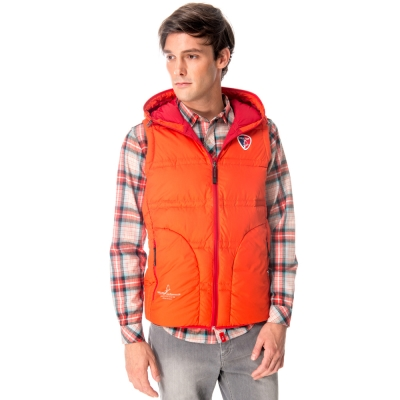 【hilltop山頂鳥】男款超撥水保暖蓄熱羽絨背心F25MF4橘