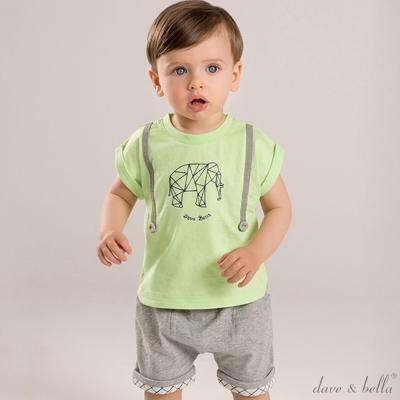 Dave Bella 蘋果綠幾何大象短袖上衣短褲套裝2件組