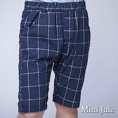 Mini Jule 童裝-短褲 格紋雙口袋鬆緊短褲(寶藍)