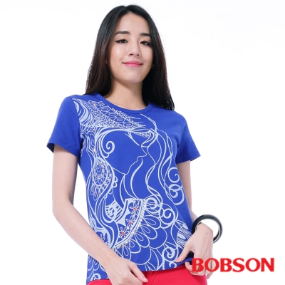 BOBSON  女款人像線條印圖T恤-藍色