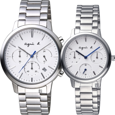 agnes b. 自由國度三眼時尚對錶-白x銀/40+32mm