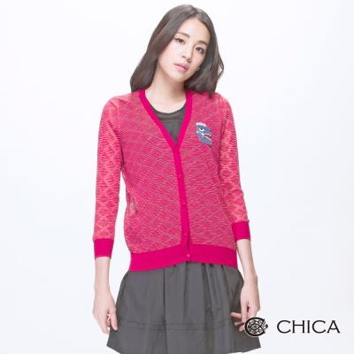 CHICA-珠飾恐龍網格織紋小外套-2色