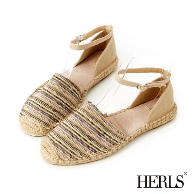 HERLS-清甜女孩 繞踝繫帶麻編鞋-米色
