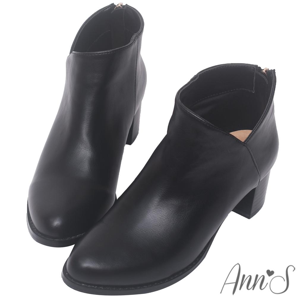 Ann'S纖瘦視覺-側V素面粗跟短靴-黑
