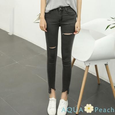 破洞修身鉛筆褲牛仔剪腳褲 (共二色)-AQUA Peach