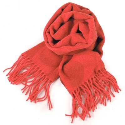 COACH 大C Logo羊毛混兔毛絲絨義大利製保暖長圍巾(亮紅色)