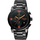 VOGUE 嶄新系列品味計時腕錶-黑x橘/42mm