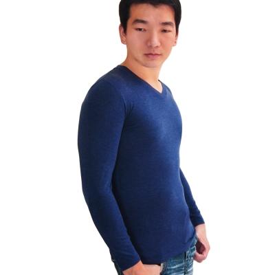SOLIS 嚴選 MIT 長袖V領手感吸濕發熱衣(耀藍色)