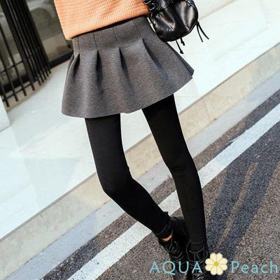 純色百褶假兩件太空棉裙褲-共三色-AQUA-Peach
