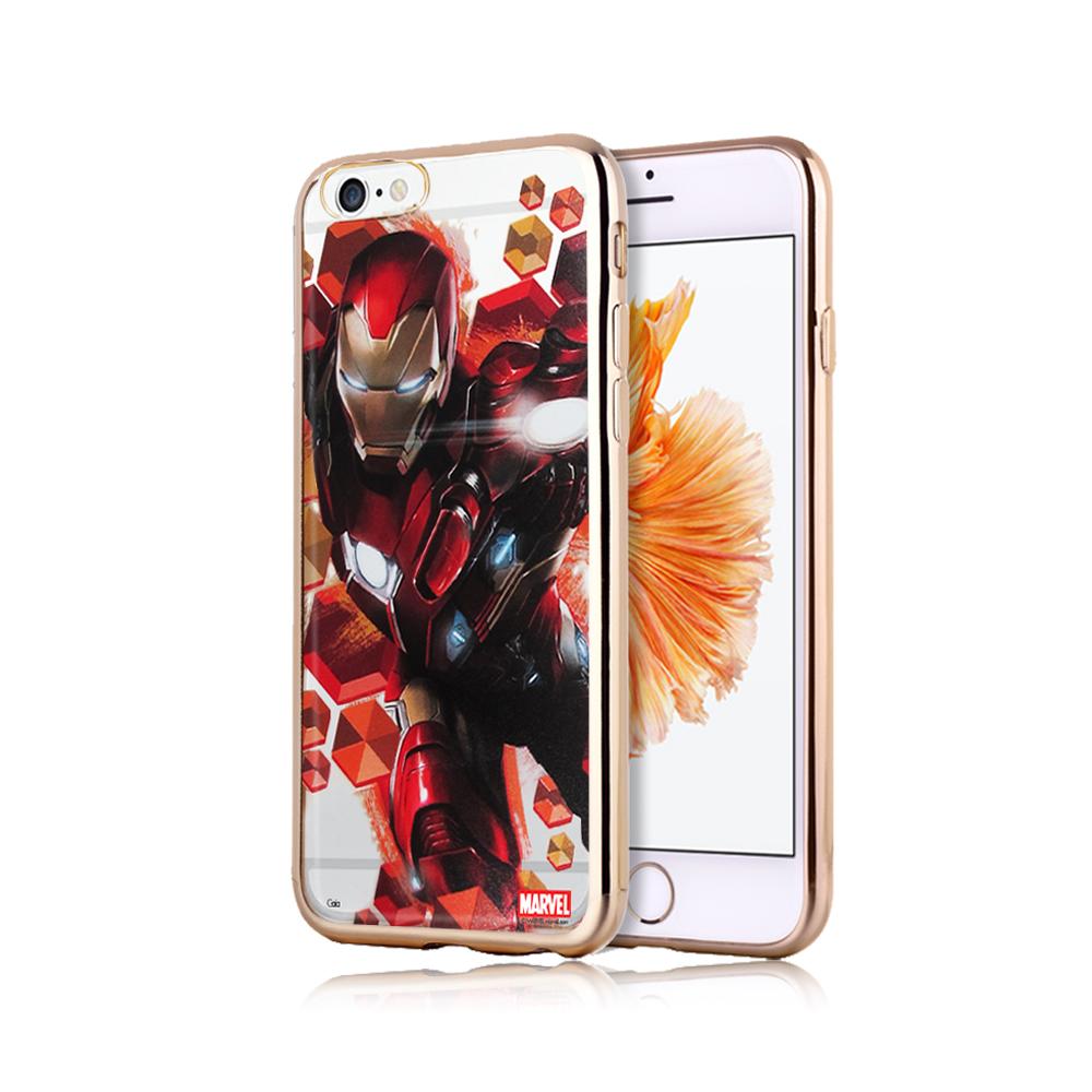 漫威正版  iPhone 6S Plus 5.5吋 美國隊長3 彩繪電鍍手機殼(鋼鐵金)