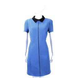 SI-JAY 藍色拼接黑領短袖洋裝
