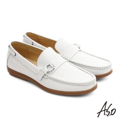 A.S.O 輕量抗震 都會牛皮直套式休閒皮鞋 白色
