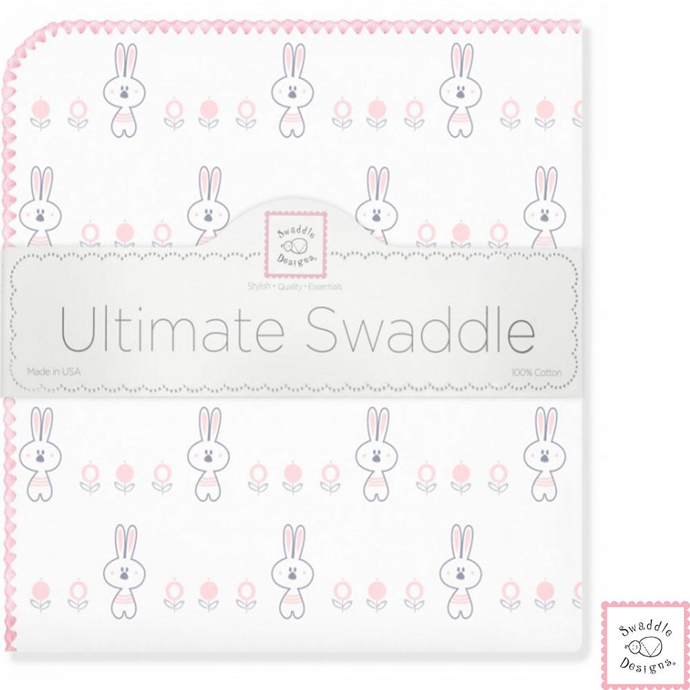Swaddle Designs 法蘭棉絨多用途嬰兒包巾-兔兔