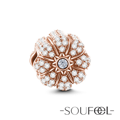SOUFEEL索菲爾 925純銀珠飾 鑽石南瓜(玫瑰金) 串珠