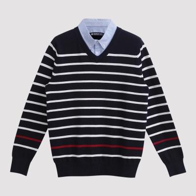 Hang Ten - 男裝 - 假兩件牛津襯衫毛衣 - 藍